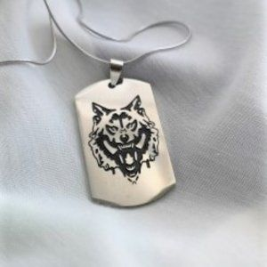 Men's stainless steel wolf necklace -  brand new